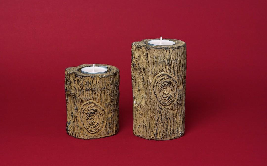 Teelichthalter Holz, rund geschnitzt, 2-teilig