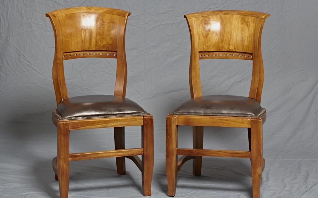 Stühle Kirschbaum mit Echtleder Polster